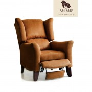 Bridgette Pushback Wingback Chair Coffee Collection Cappuccino Fabric