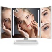Omliox Make Up Spiegel met LED verlichting - Stijlvolle Inklapbare Spiegel - Dimbare Verlichting met Touch Knop - 2x en 3x vergroting - Inclusief USB Kabel - Wit