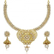 Soha Fashion by JewelMaze Zinc Alloy Gold Plated White Austrian Stone Drop Necklace Set-FAF0251