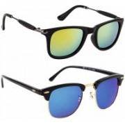 Spexra Wayfarer, Clubmaster Sunglasses(Blue, Yellow)