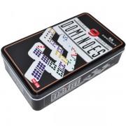 Joc domino dublu, plastic + metal, 55 piese, 19x11x4,5 cm