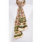 Ivoorkleurig sjaaltje met paars / terra petit fleur patroon