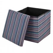 [en.casa]® Összehajtható szövet kötött puff - ülőke / lábtartó tárolórekesszel (38x38cm) kékes