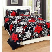 Luxmi Super soft Many flowers Double Bed sheets with 2 pillow covers - Red Black