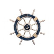 "Rustic Dark Blue and White Decorative Ship Wheel With Anchor 24"" - Wooden Ships"