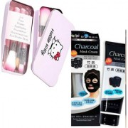 charcoal Anti-Acne Deep Cleansing Blackhead Remover (130 g) + Hello Kitty Soft Makeup Brush Set (Pack of 7 ) 1 Each