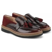 Clarks Zante Spring Burgundy Combi Loafers For Women(Maroon)