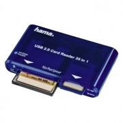 CARD READER, Hama 35-in-1, Multicard Reader, USB2.0, Blue (55348)