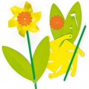 Baker Ross Daffodil Kids Craft Kits - 6 Daffodil Flower Windmill kit contains card shapes, stick & instructions. Height 33cm