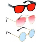 Elligator Round, Aviator, Wayfarer Sunglasses(Red, Pink, Blue)