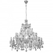 Lustra Clasica Marie Therese, Search Light, Metal, 30 Becuri 210 W, Inaltime 94/146 Cm, Argintiu, 2 Kg, 3314-30