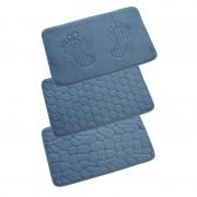 Geen Blauwe badkamer/douche mat met steentjes 80x50 cm