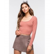 CheapChic Scoop Neck Crop Long Sleeve Top Terracotta