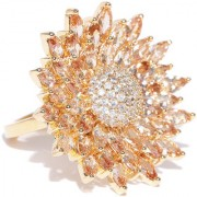 Jewels Galalxy Attractive AAA CZ Delicate Floral Design Gold Plated Traditional Adjustable Zircon Ring For Women/Girls