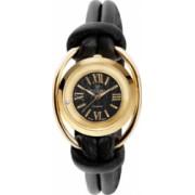 Ceas de dama Swiss Made Auriu Cadran Negru 1 diamant bratari piele neagra Christina Watches Collect