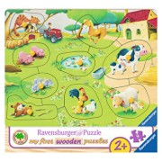 Primul meu puzzle din lemn Ferma animalelor, 9 piese