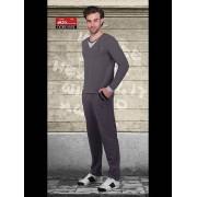 Doreanse Трикотажный мужской домашний костюм серого цвета с V-образным вырезом Doreanse Homewear 4820c30