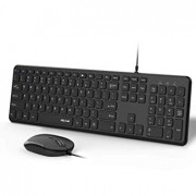Wired Keyboard and Mouse, Jelly Comb Ultra Thin Full Size USB Wire Corded Keyboard Mouse Combo Set with Number Pad for Computer, Laptop, PC, Desktop, Notebook, Windows 7, 8, 10 - K027C (Black)
