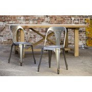 Chaise industrielle Multipl's finition acier brossé