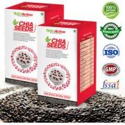 Nutroactive Chia Seeds 250 Gm Black Raw Organic Salvia Hispanica Seeds pack of 2