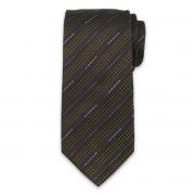 Cravată bărbătească culoarea maro-negru din mătase 9559