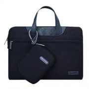 12 inch Cartinoe Business Series Exquisite Zipper Portable Handheld Laptop Bag with Independent Power Package for MacBook Lenovo and other Laptops Internal Size:28.0x17.0x3.0cm(Black)