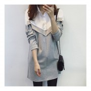 Long-section Turn-down Collar Blouse Special Stitching-Work Dress For Female Grey