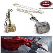 LADY HAWK® Avenger Collection - Thor Hammer - Gold Colour Keychain and Silver Colour Trendy Imported Metal Pendant with Chain.