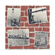 Tapet hartie perete caramida cu poze rosu/gri 10,05x0,53 m
