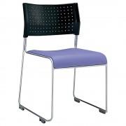 パスチェ W490×D525×H750mm スタッキングチェア 会議椅子 ブラック×ブルー スタックチェア 会議チェア ミーティングチェア オフィス家具