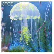 3 PCS Acuario Silicona Fluorescente Articulos Decoracion Simulación Sucker Medusas, Tamaño: 5 * 17cm (Amarillo)