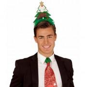 Geen Kerst diadeem met groene kerstboom