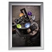 Plakáttartó, fali, A2, alumínium keret, ALBA, ezüst