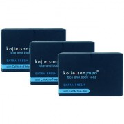 Kojie San Men Extra Fresh Face Body Soap - Blue - 135gm (Pack Of 3)