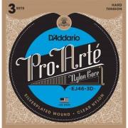 D'Addario Cuerdas para guitarra clásica Pro Arte EJ46-3D Silverplated, Hard, Juego de 3