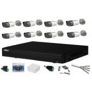 Sistem complet supraveghere cu 8 camere exterior Dahua 2MP, HDCVI, HD 1080p, IR 20m, DVR 8 canale, accesorii montaj