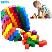 xlpace 100 Pcs/Set Infant Building Blocks Cube Wooden Squeeze Stack Block Baby Kids Educational Toys Children Gifts