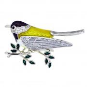 Brosa Din Argint 925, In Forma De Pasare Pe Crenguta, Decorat Cu Zircoiniu Si Email Multicolor