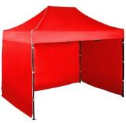 Gyorsan összecsukható sátor 2x3 m – acél, Piros, 3 oldalfal