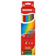 Creioane colorate 6 culori + ascutitoare triunghiulare Jumbo Kores