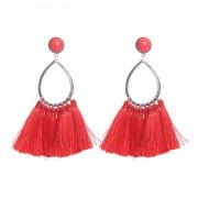 Earrings Red Tassle - Oorbellen