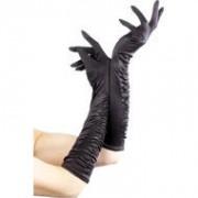 Fever Lange glanzende handschoenen - Zwart