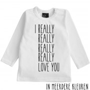 Babystyling Really love you longsleeve shirt 68 Wit/Zwart