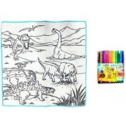 Ruba Kids 80 x 80cm Dinosaur World Washable Colouring Mat with Colour Pens- Repeated use of Water Washable Colouring mat