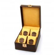 Cutie 4 Ceasuri Bronze Carbon by Friedrich Uhrenboxen Made in Germany