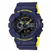 reloj digital analogico casio g-shock GA-110LN-2A-azul marino + amarillo neon