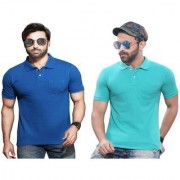 Kundan's Exclusive for Men's 100 Pure-Cotton Polo Neck Half Sleeves T-Shirt With Pocket-German Blue Leaf Green ( Pack of 2 T Shirt )