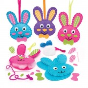Baker Ross Bunny Sewing Kits - 3 Felt Sewing Kits For Kids. Sewing For Beginners. All Accessories Included. Size 14cm.