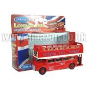 Diecast Metal London Double Decker Open Top Bus - Pull Back & Go Action