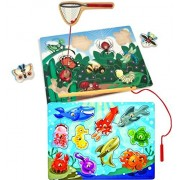 Bundle Includes 2 Items - Melissa & Doug Magnetic Wooden Bug-Catching Puzzle Game (10 pcs) and Melissa & Doug Magnetic Wooden Fishing Puzzle Game with 10 Ocean Animal Magnets and Pole